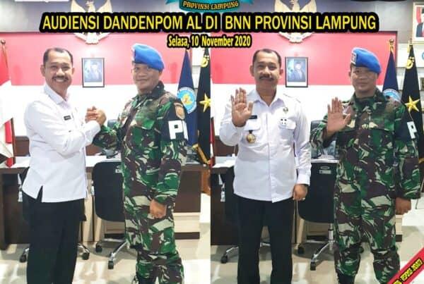 AUDIENSI KOMANDAN DETASEMEN POLISI MILITER ANGKATAN LAUT LAMPUNG DI BNN PROVINSI LAMPUNG