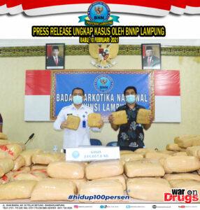 PRESS RELEASE BNNP LAMPUNG,UNGKAP PEREDARAN GELAP 248 KG GANJA
